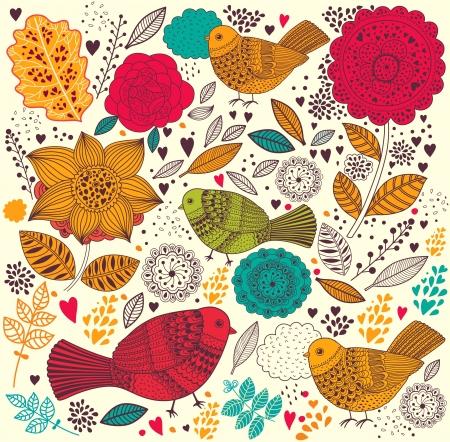 flores de cumpleaños: Vector Floral patrón con aves