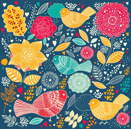 fall in love: Vector Floral pattern with birds