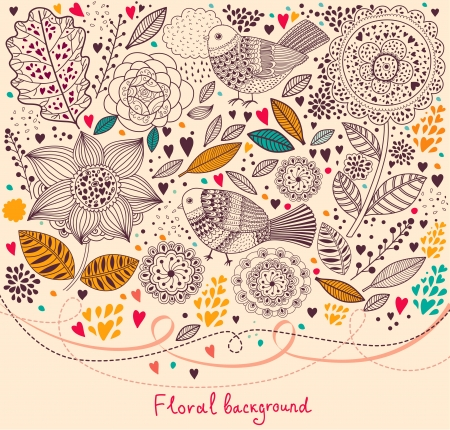 Vector Floral pattern with birds Vector