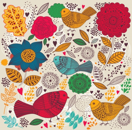 Floral pattern with birds Vector