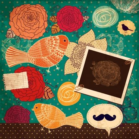 copertina libro antico: sfondo floreale con cornice digitale Vettoriali