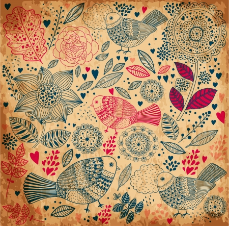 old fashioned: floral background with old paper texture Illustration