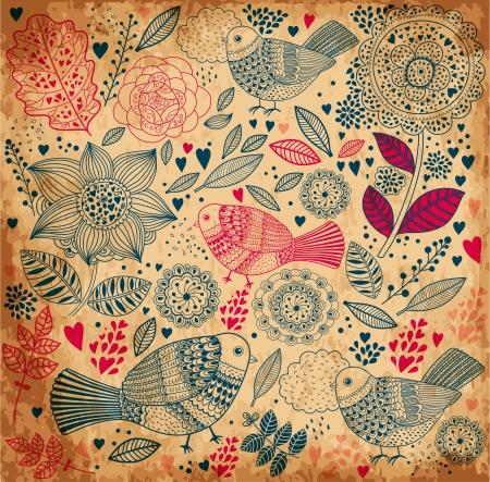 Fondo floral con textura de papel viejo Foto de archivo - 15382311