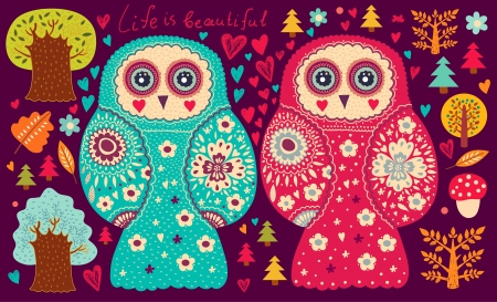 Vector illustration with owls and trees Vector