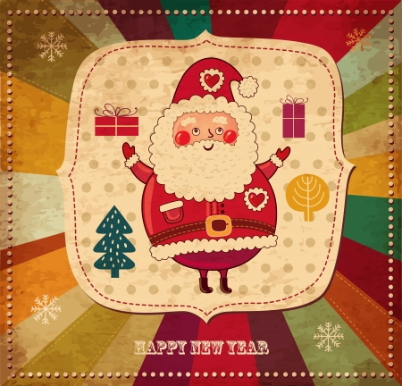 Christmas vintage illustration with funny Santa Claus Vector