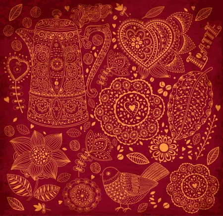 Vintage vector background with coffee pattern Vector