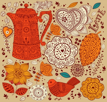 old fashioned menu: Vector floral background with coffee pot