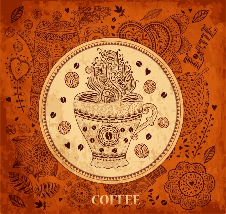 old fashioned menu: Vintage  background with coffee cup Illustration