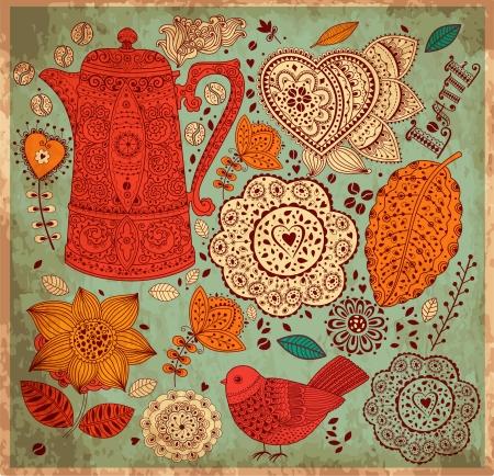 copertina libro antico: Vintage background con pattern caff� Vettoriali
