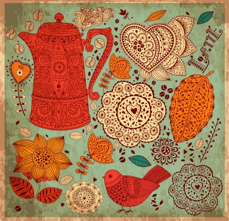 Vintage  background with coffee pattern Vector
