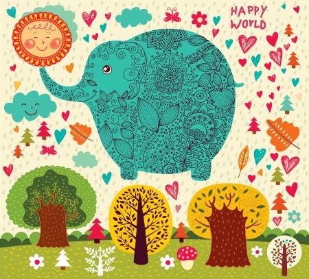 happy world:  illustration with elephant