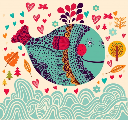 love cartoon: Cartoon  illustration with whale Illustration