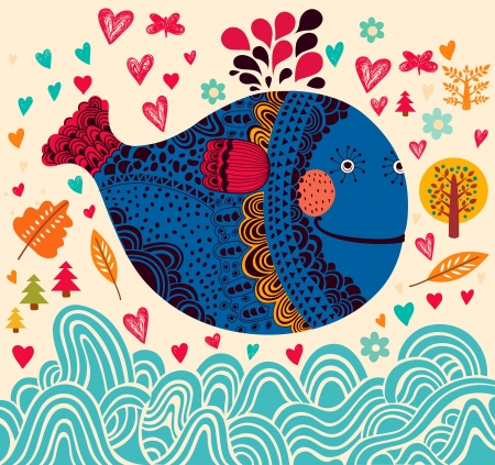 cartoon trees: Cartoon illustration with whale Illustration