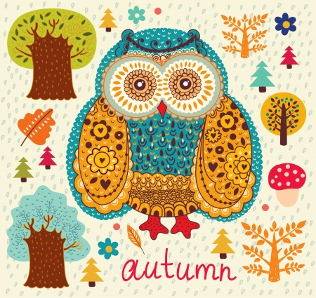 illustration with owl Stock Vector - 15381084