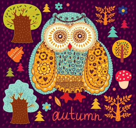 illustration with owl Vector