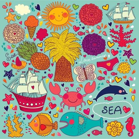 marine bird: papel pintado con s�mbolos de los viajes y el verano Vectores