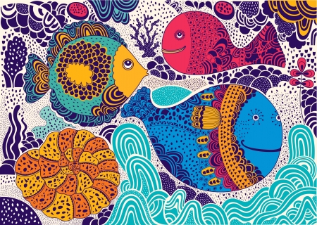 notebook cover:  illustration with funny fishes