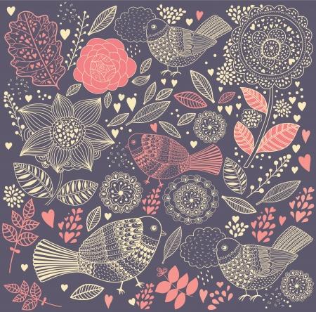 vintage bird:  floral background