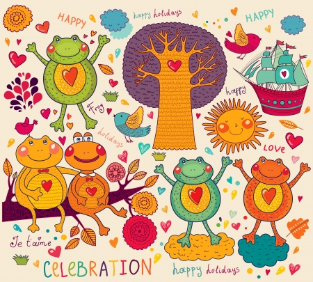 illustration with funny frogs