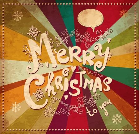 caja navidad: Vintage tarjeta de Navidad Vectores
