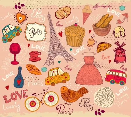 vintage paris: Conjunto de la vendimia de s�mbolos de Par�s Vectores
