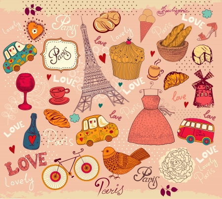 Vintage  Set of Paris symbols Vector