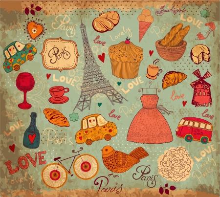 dibujo vintage: Conjunto de la vendimia de s�mbolos de Par�s Vectores