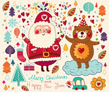 Vintage  Christmas card with Santa Claus Stock Vector - 15380766