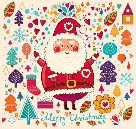 Vintage  Christmas card with Santa Claus Stock Vector - 15380765