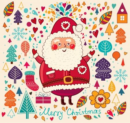 Weinlese-Weihnachtskarte mit Santa Claus