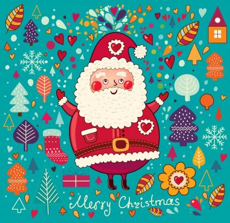 weihnachten vintage: Weinlese-Weihnachtskarte mit Santa Claus