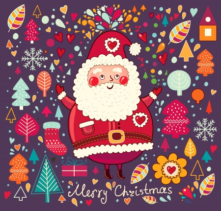 Vintage  Christmas card with Santa Claus Stock Vector - 15380769