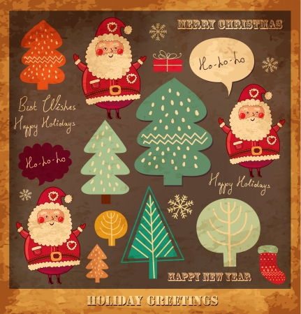 old fashioned christmas: Vintage vector Christmas card with Santa Clauses