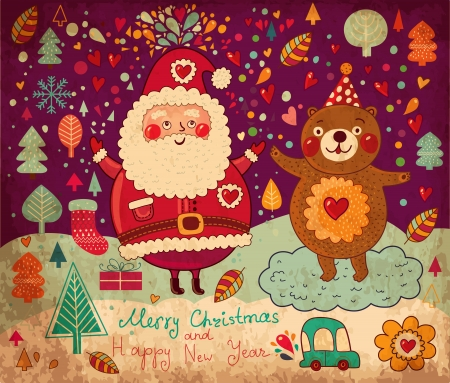 Vintage vector Christmas card with Santa Claus Stock Vector - 15380659