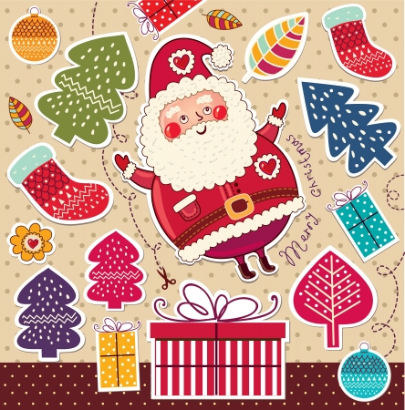 Vintage Christmas card with Santa Claus Stock Vector - 15380810