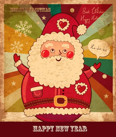 Vintage vector Christmas card with Santa Claus Stock Vector - 15380657