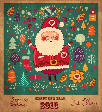 Vintage  Christmas card with Santa Claus Illustration