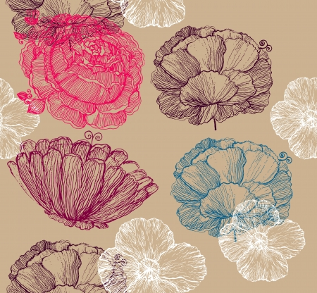 fabric label: Floral seamless background