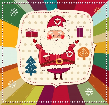 postcard box: Vector Christmas card with Santa Claus