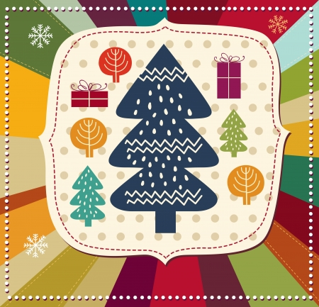 x mas: Vector Christmas card with Christmas tree