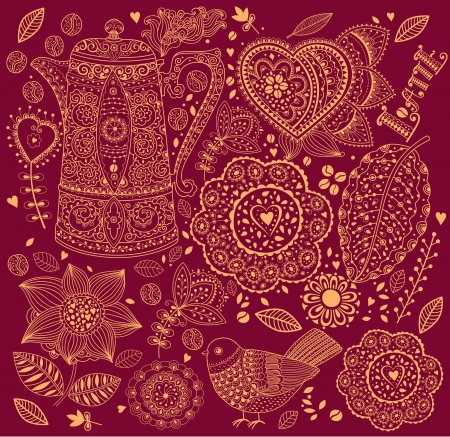 Vector floral background with coffee pot Vector