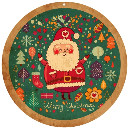Vintage vector Christmas card with Santa Claus Stock Vector - 15380661