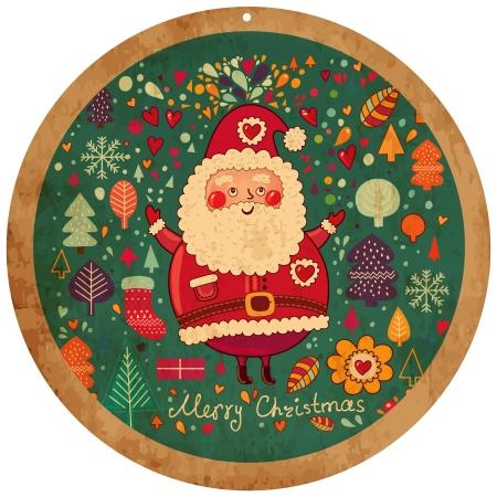 Vintage vector Christmas card with Santa Claus Stock Vector - 15380661