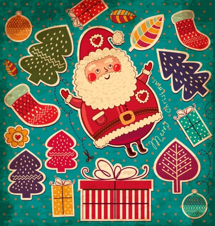 old fashioned christmas: Vintage vector Christmas card with Santa Claus