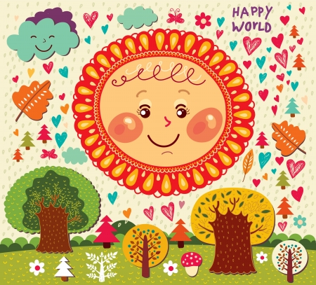 Cartoon illustration with funny sun and trees