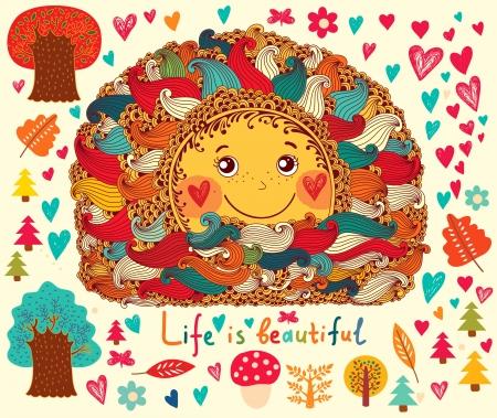 alegria: Ilustración de dibujos animados con el sol divertido y árboles