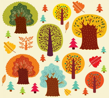 tree drawing: Vector autumn pattern with trees