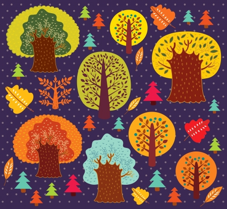 Vector autumn pattern with trees Stock Vector - 15369216