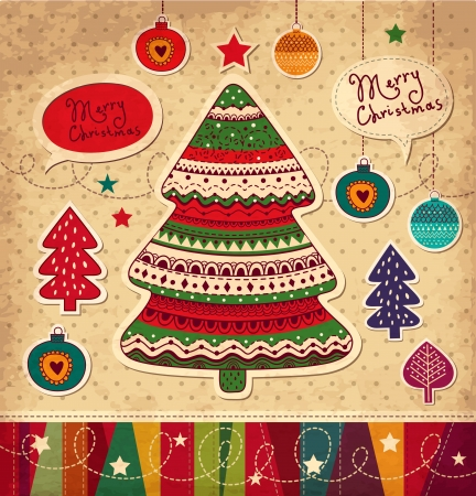 x mas party: Vintage Christmas vector card with Christmas tree Illustration