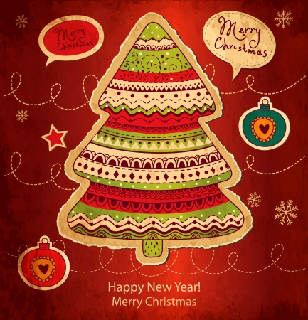 x mas: Vintage Christmas vector card with Christmas tree Illustration